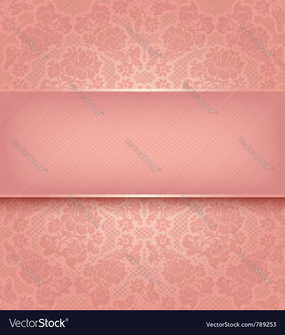 Lace template ornamental pink flowers background vector