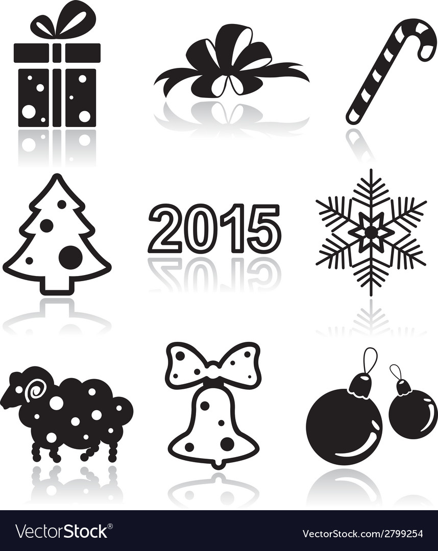 Set of christmas and new year flat icons vector