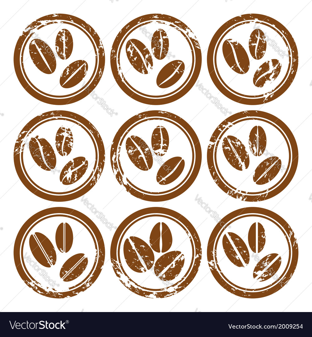Set of vintage icons with coffee beans vector