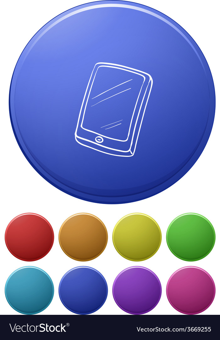 Small buttons and a big button with a cellphone vector