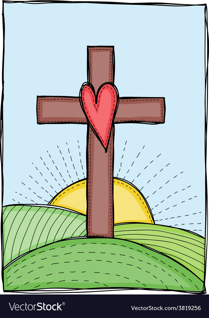 Cross with heart vector