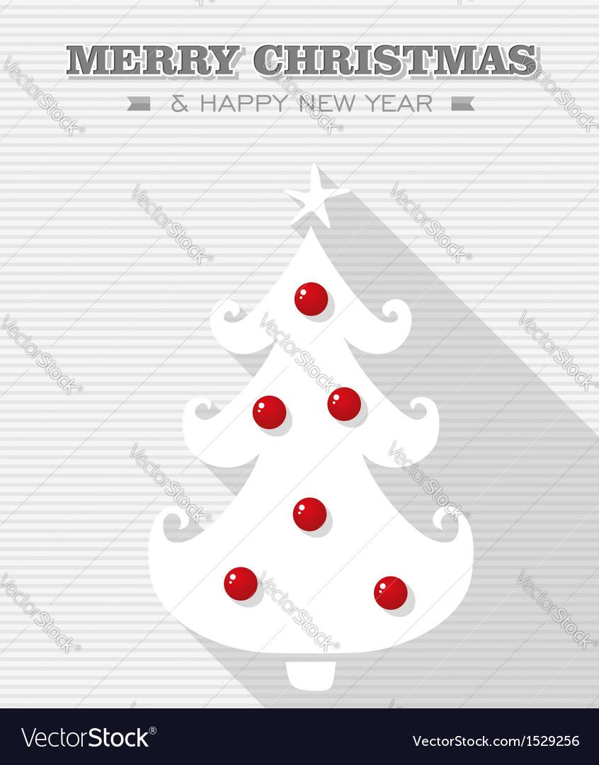 Merry christmas red dot white tree vector