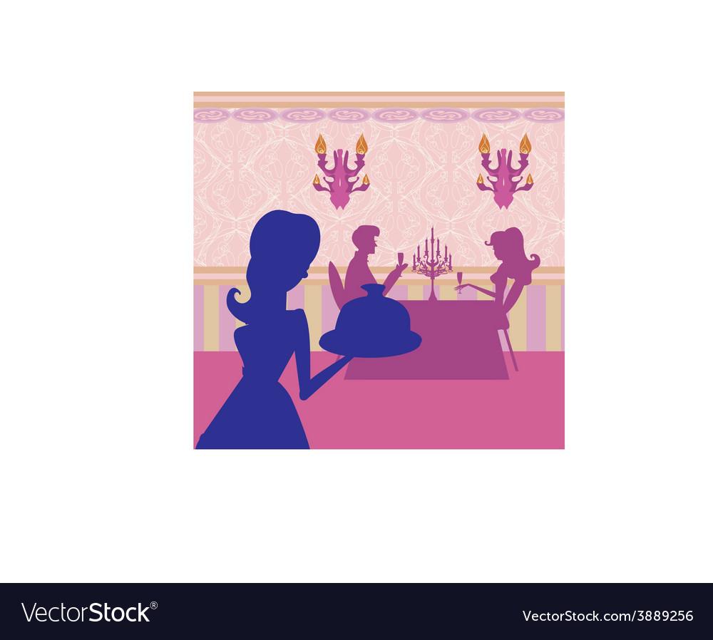 Waitress serving dish vector