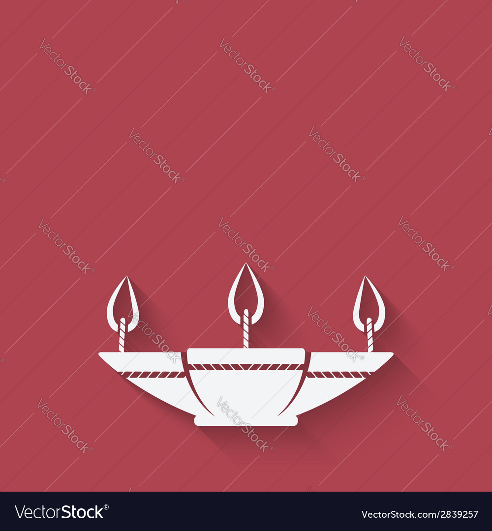 Oil lamp red background vector