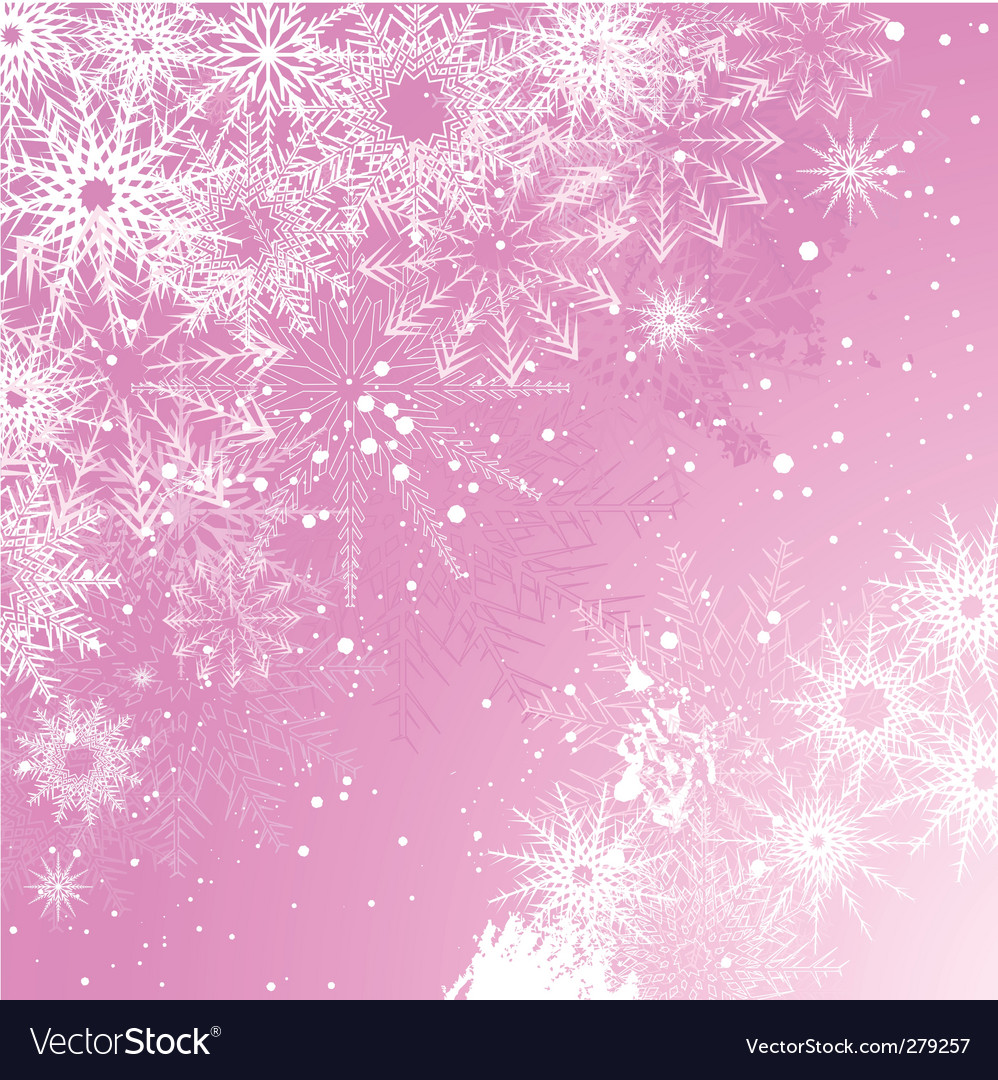 Pink snowflake background vector