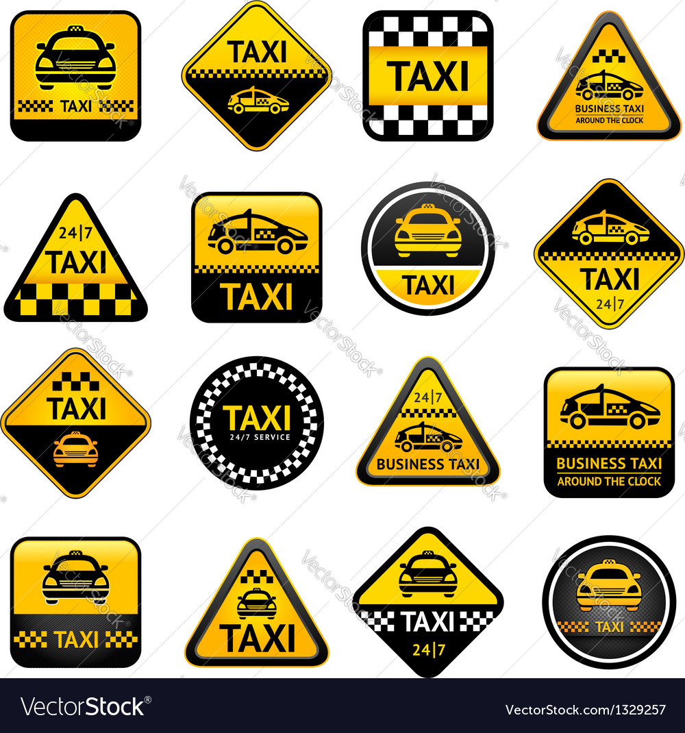 Taxi set buttons vector