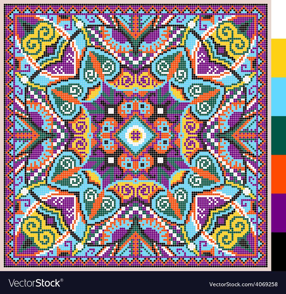 Cross stitch ukrainian traditional embroidery vector