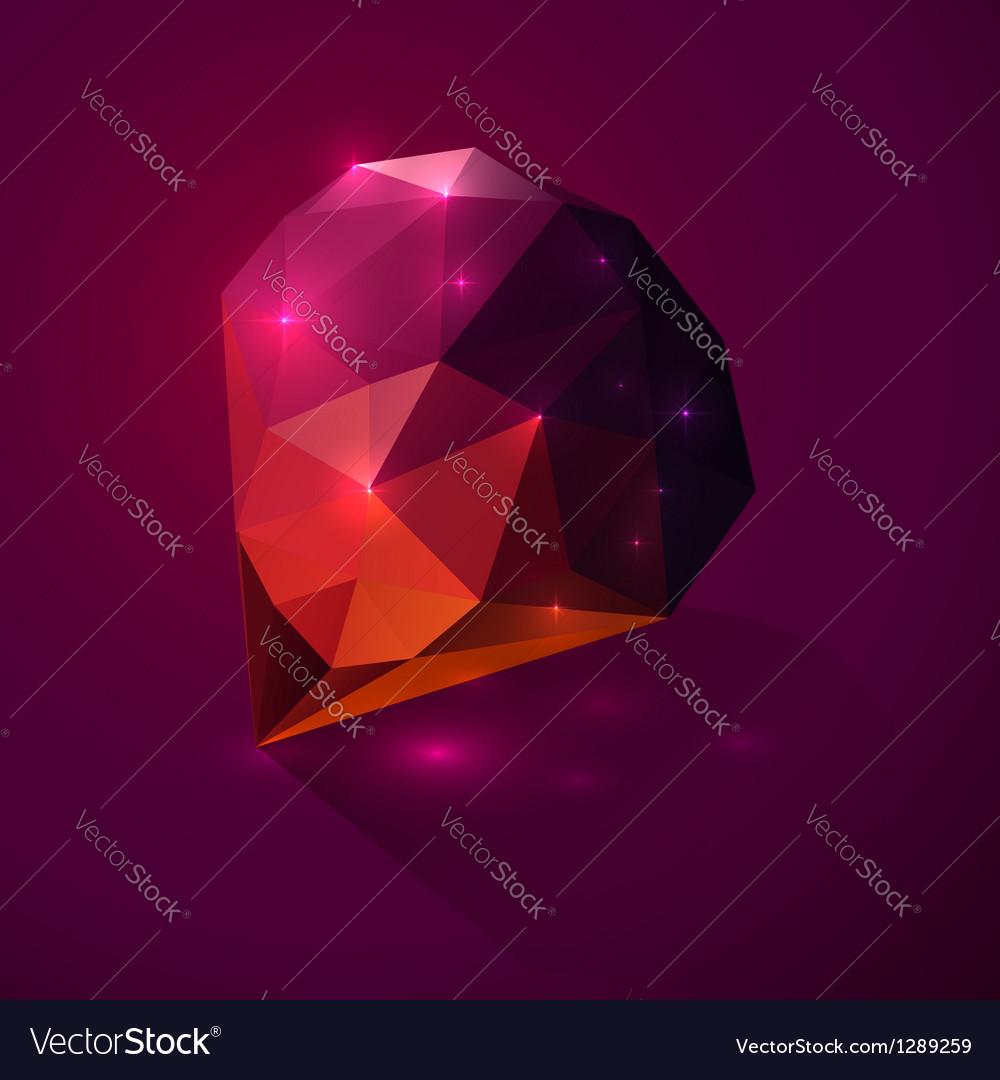 Shining dark pink crystal vector