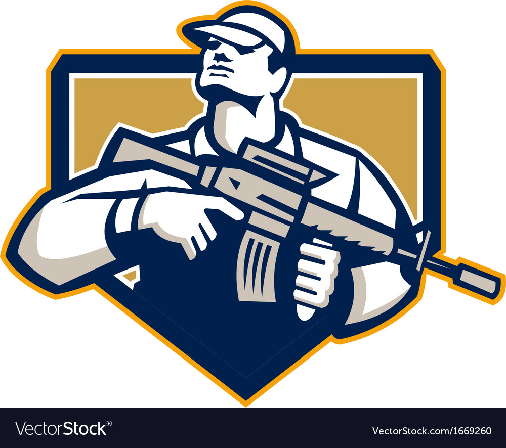 Soldier military serviceman assault rifle retro vector