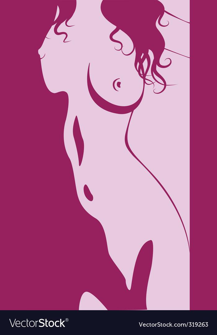 Beautiful artwork nude woman silhouette vector