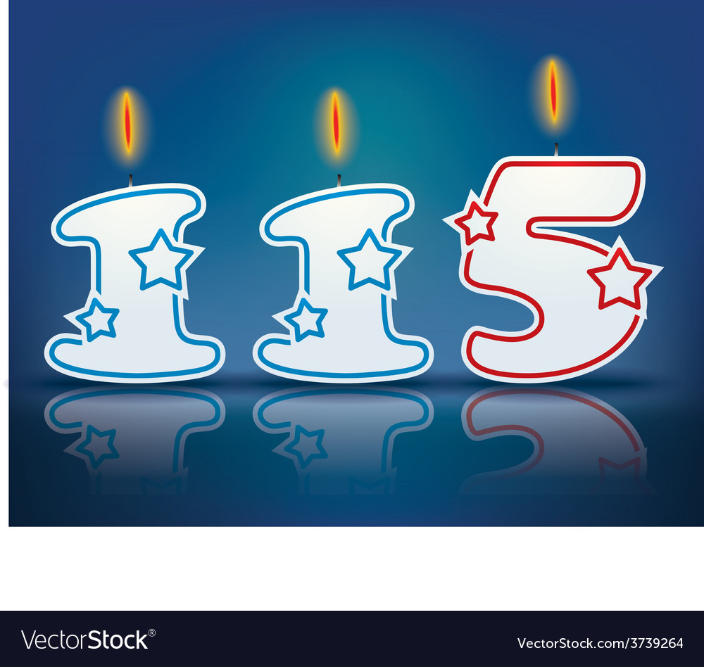 Birthday candle number 115 vector
