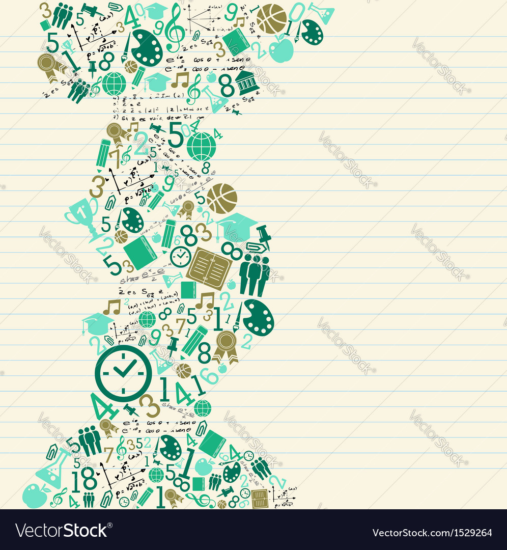 Education back to school green icons vector