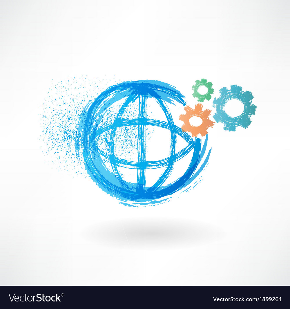 Globe mechanism grunge icon vector