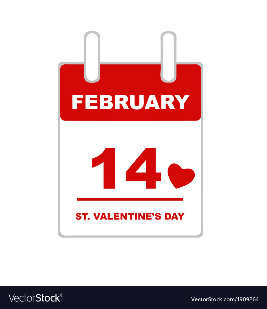 Valentine s day calendar vector