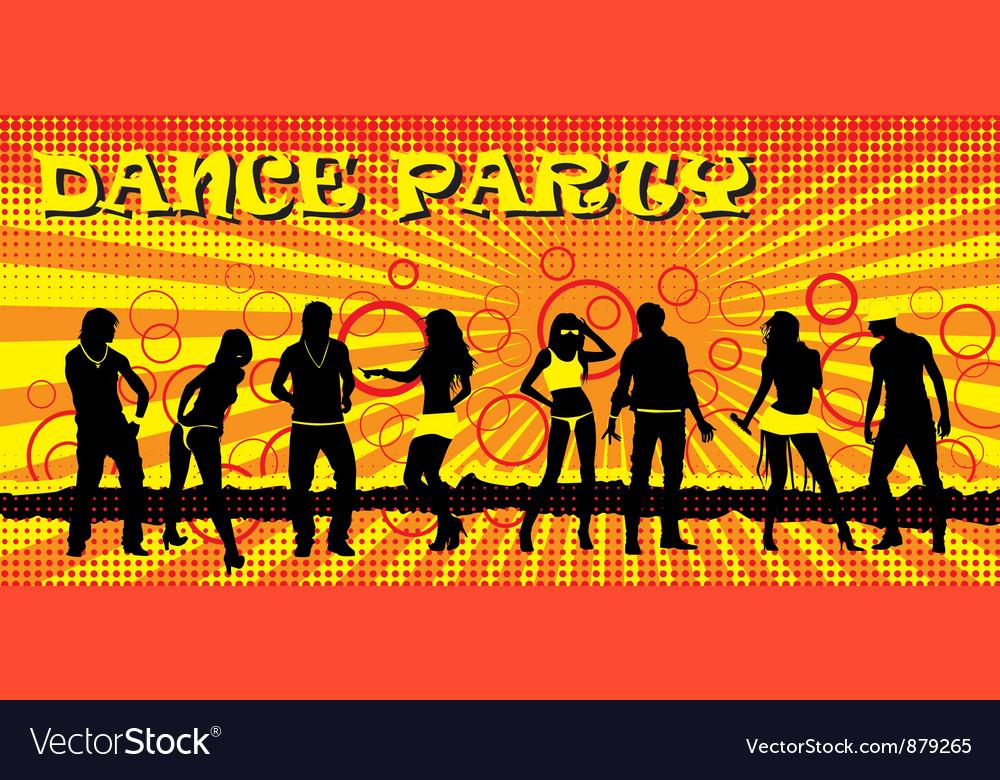 Dance party ticket yellow vector