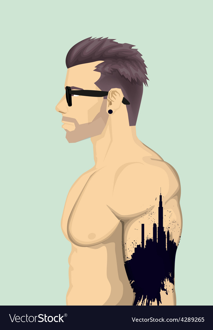 Trendy men with abstract tattoo vector