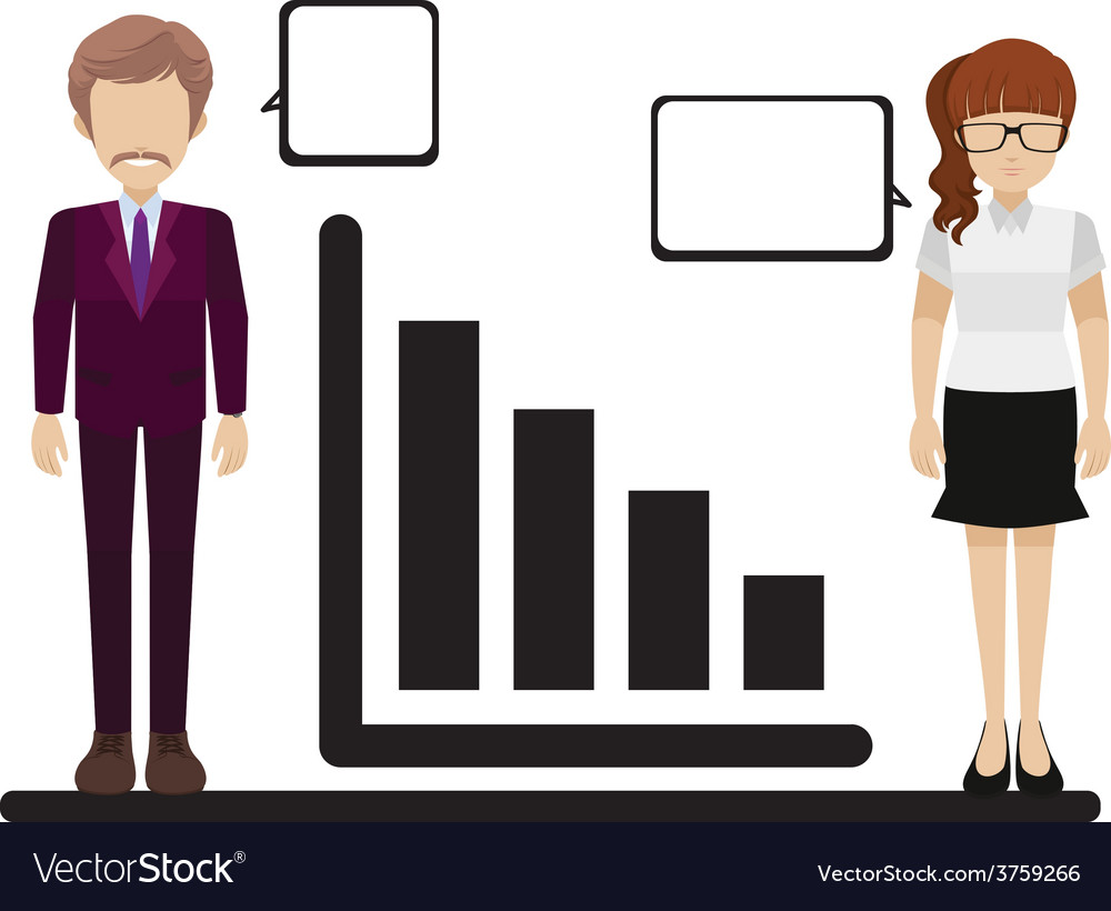 A graph with a man and woman vector