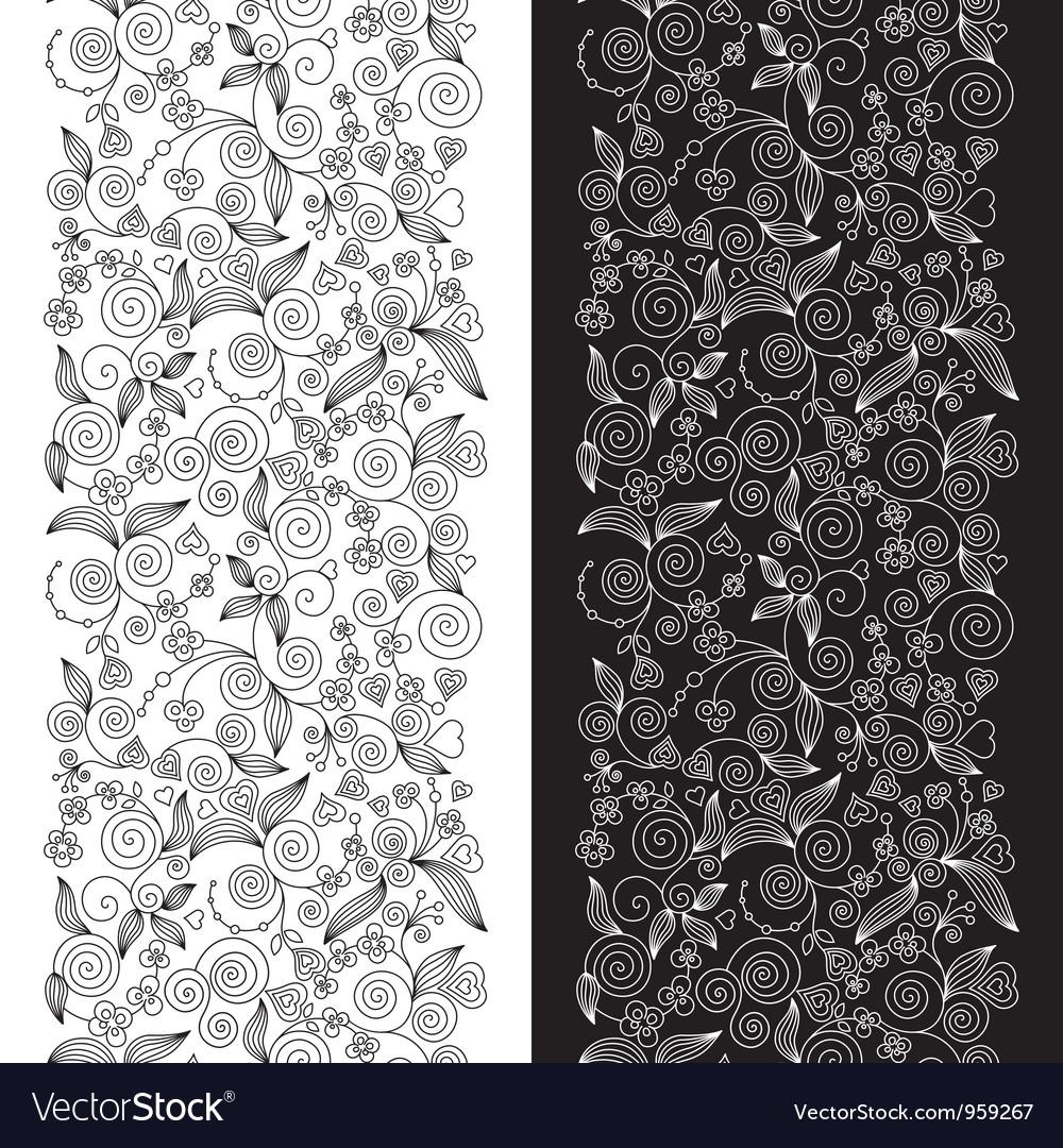 Decorative flower seamless patterns vector