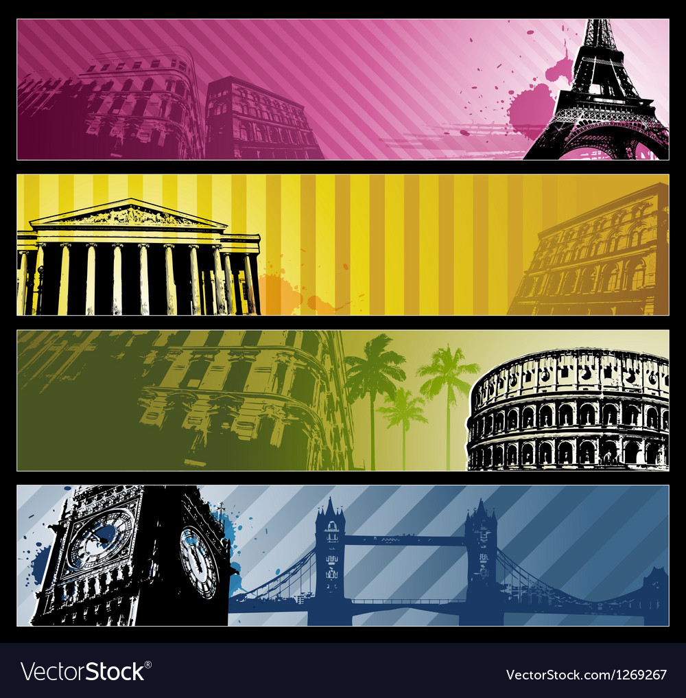 Europe cities horizontal travel banners vector