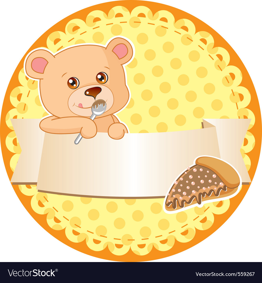 Label with teddy bear vector