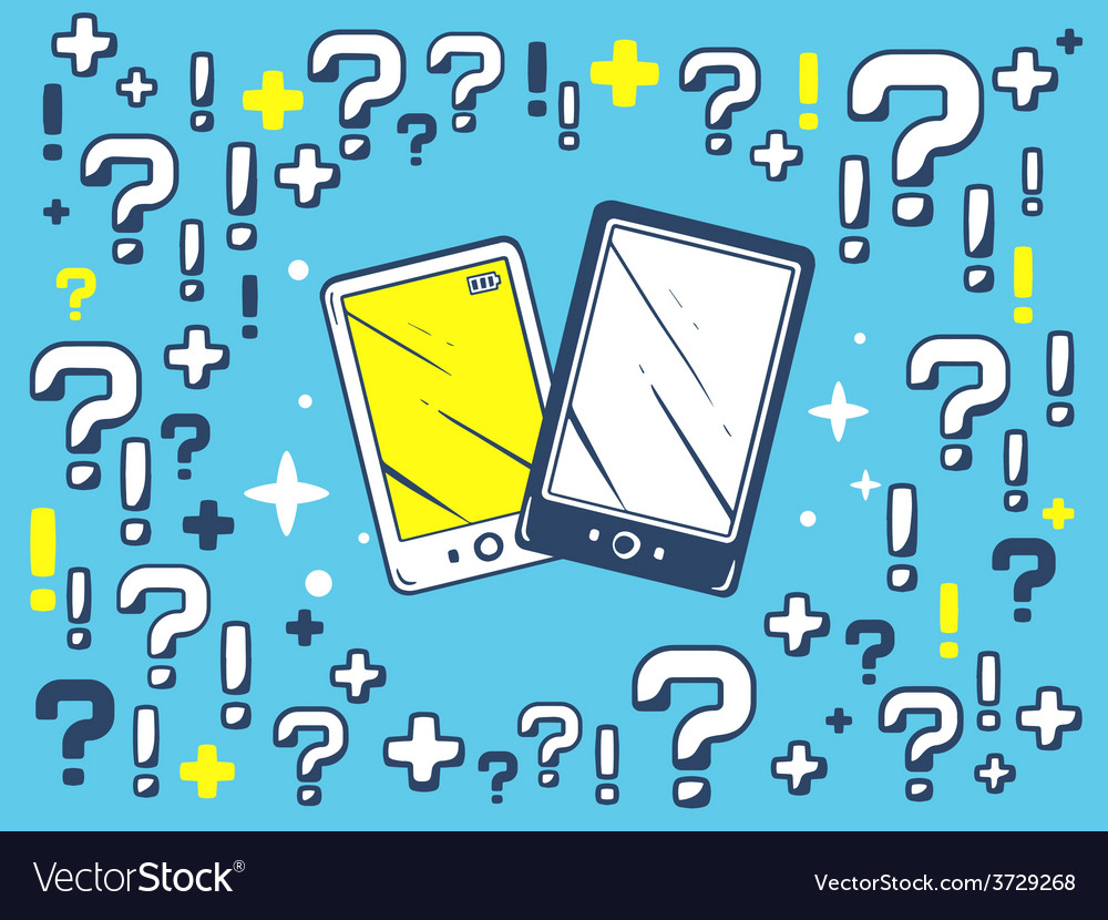 Many questions and exclamation marks arou vector