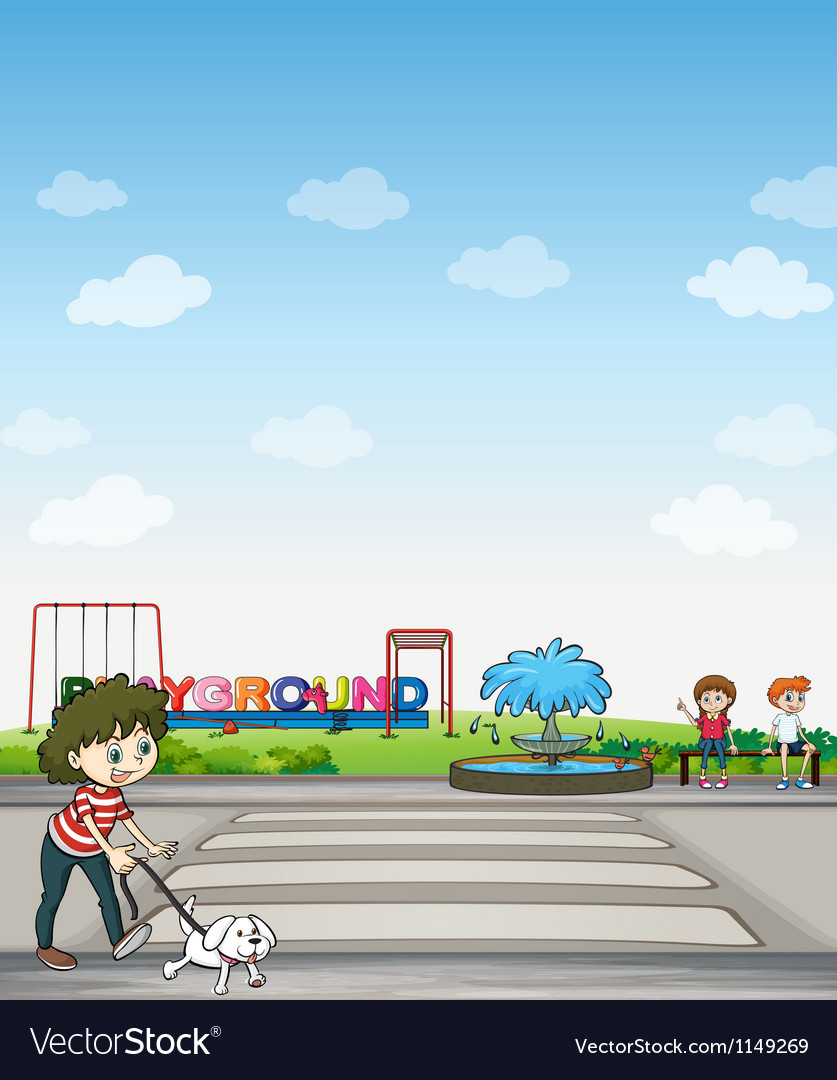 A child with her dog across a playground vector
