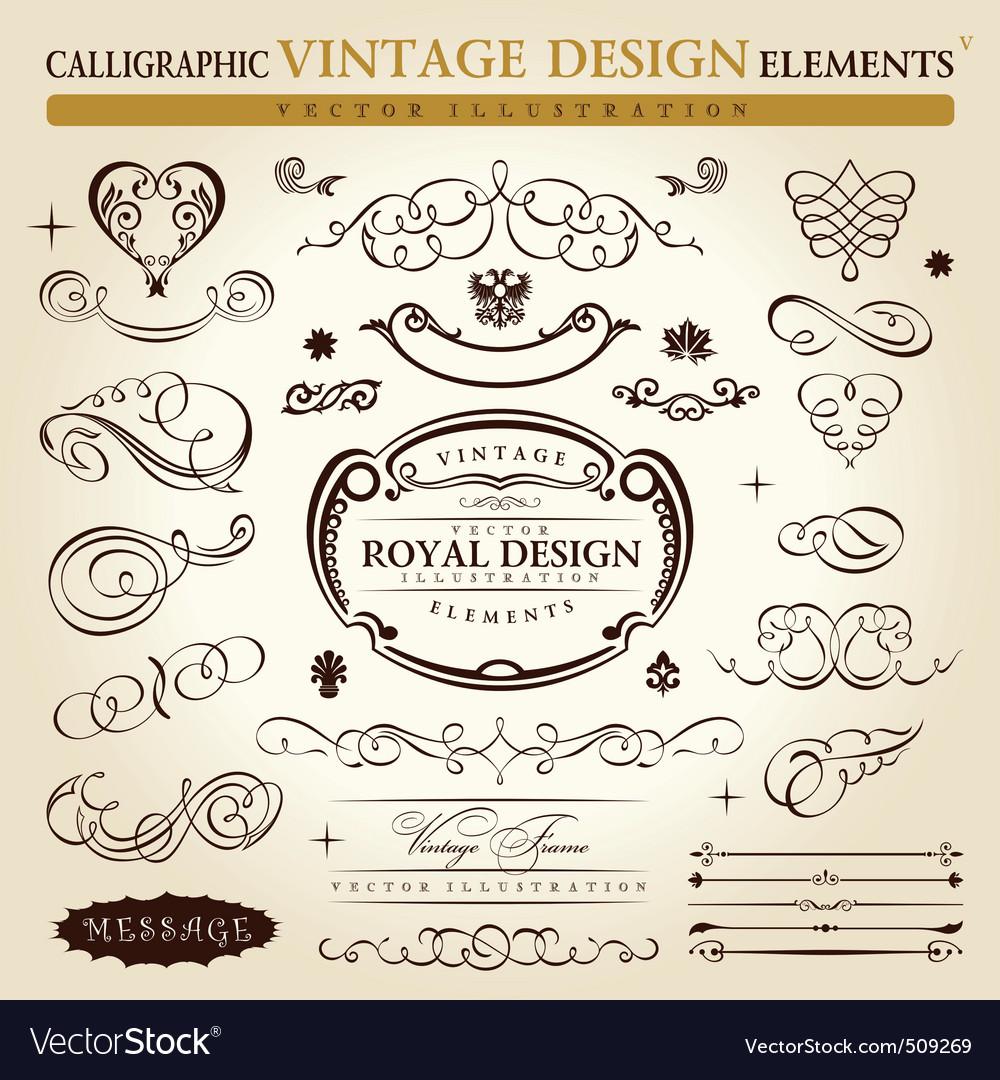 Raphic elements vintage ornament set vector vector