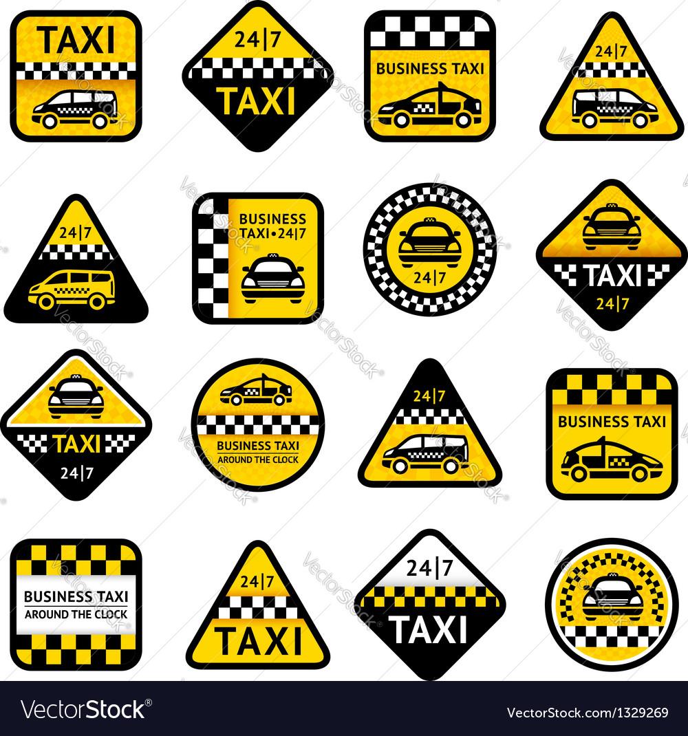 Taxi set labels vector