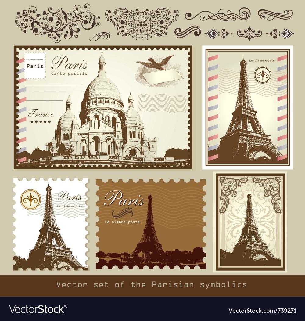Buildings and landmarks of paris vector