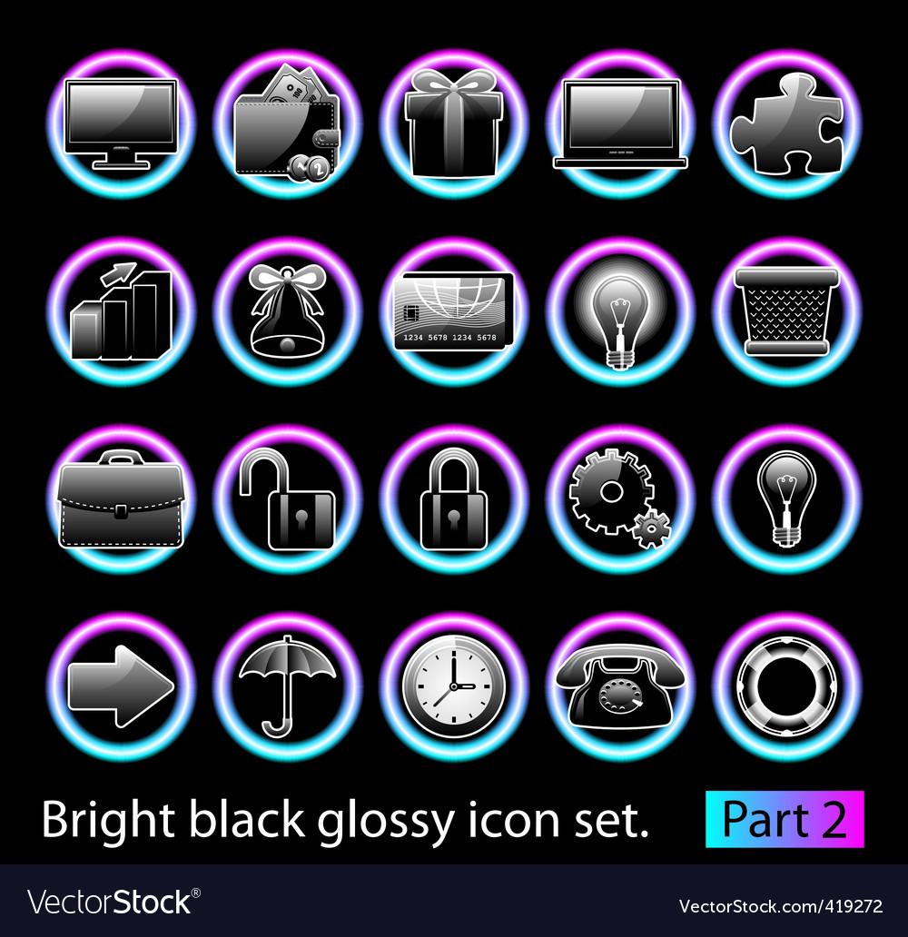 Black glossy icon set 2 vector