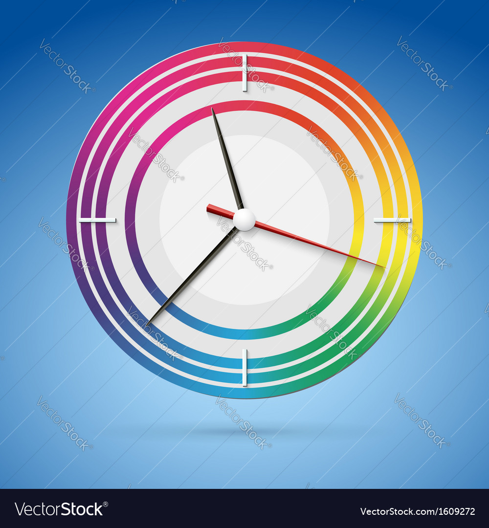 Bright watch with a dial of the rainbow beautiful vector