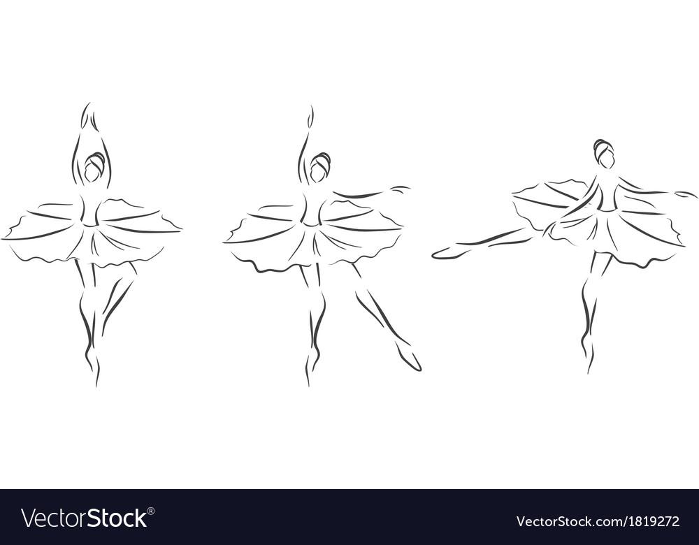 Set of ballerinas vector