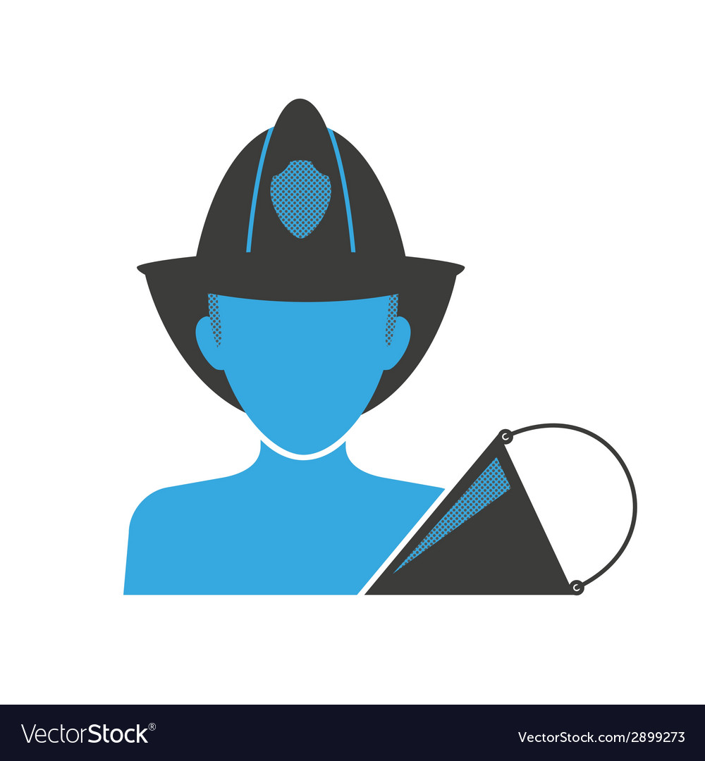 Firefighter blue icon vector