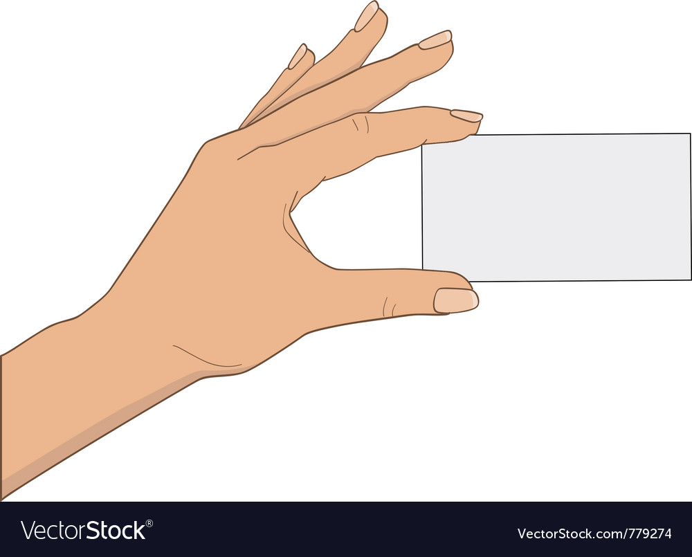Hand with business card vector