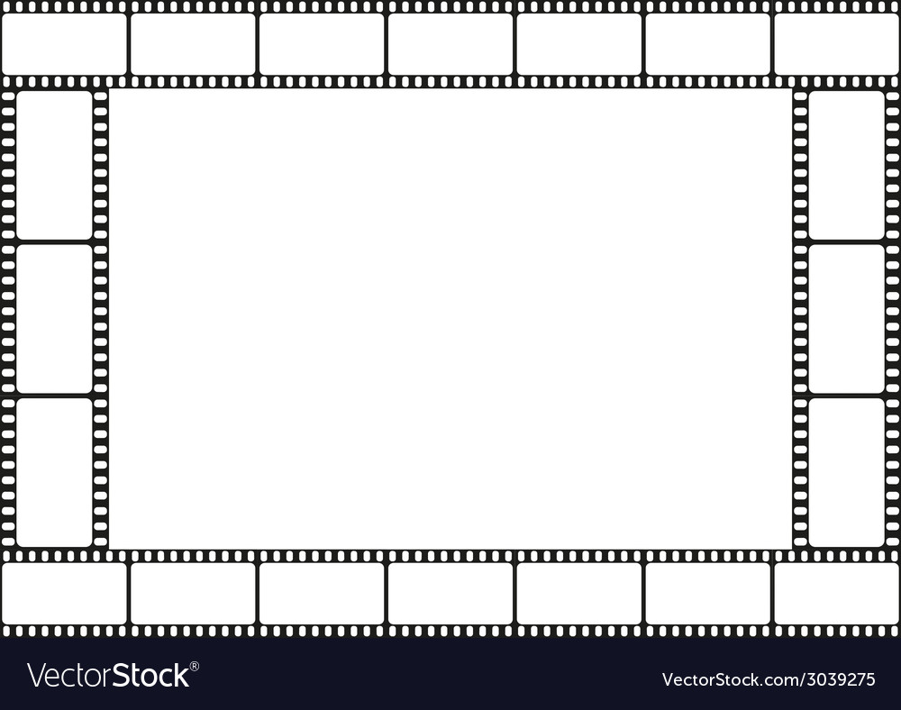 Film strip template border movie theater frame vector