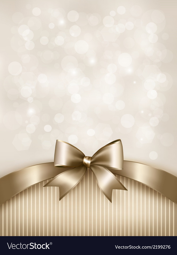 Holiday gold background with gift glossy bow and vector