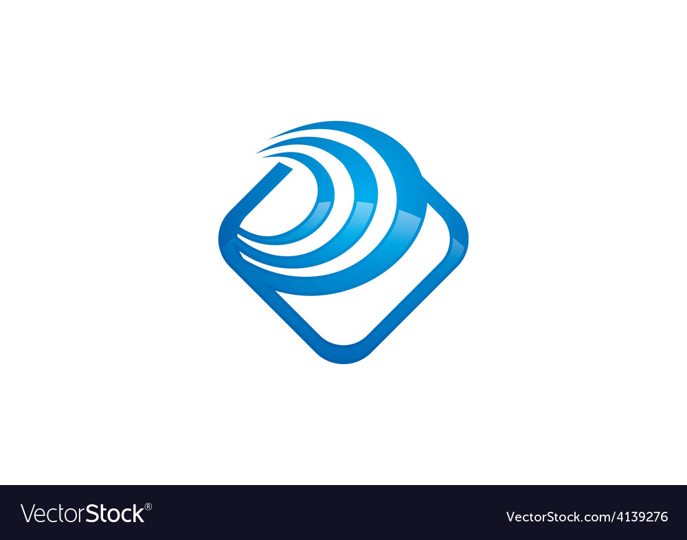 Square abstract swirl finance logo vector