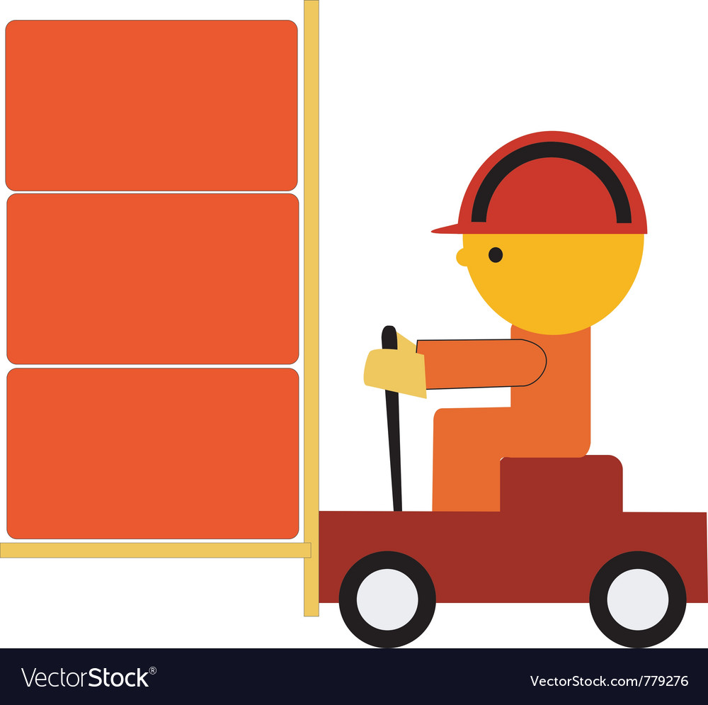 Worker on trolley vector