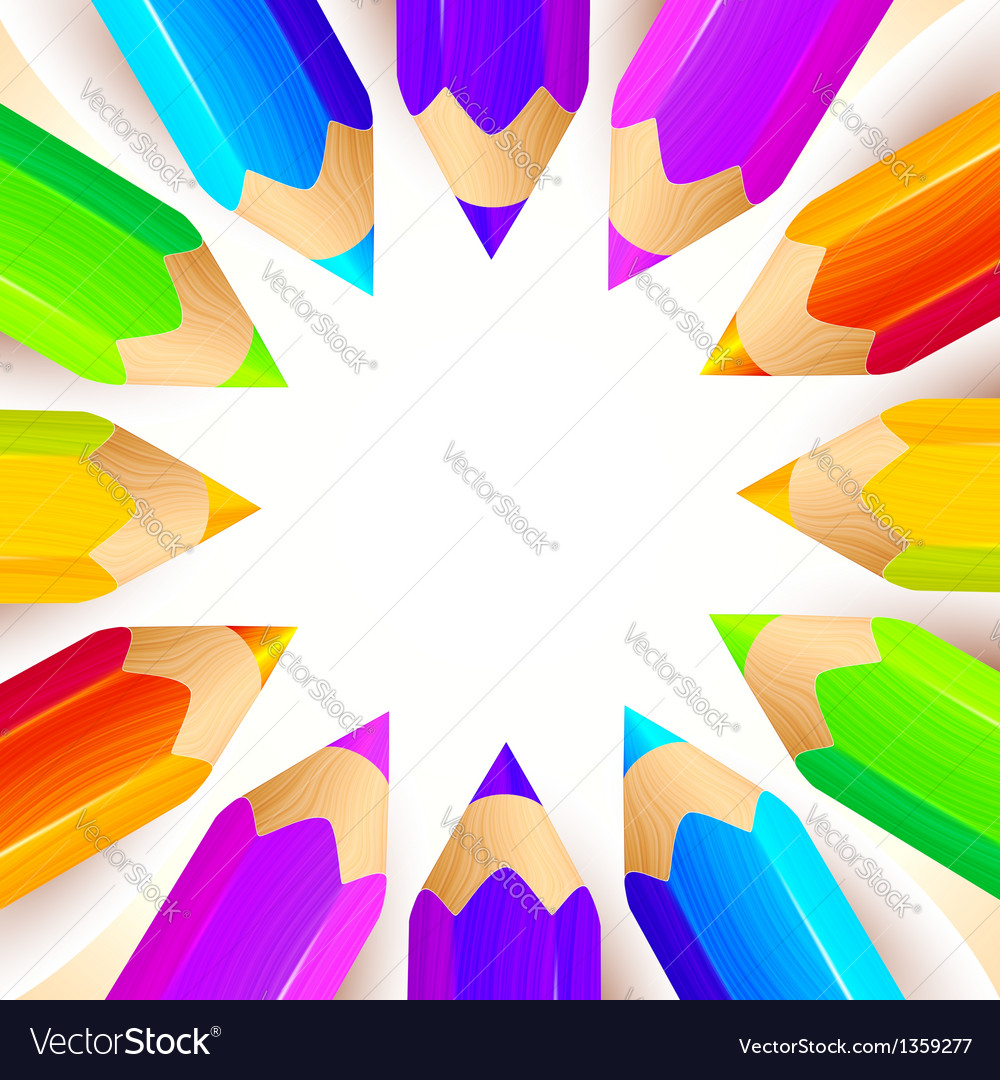 Colored pencils circle background vector