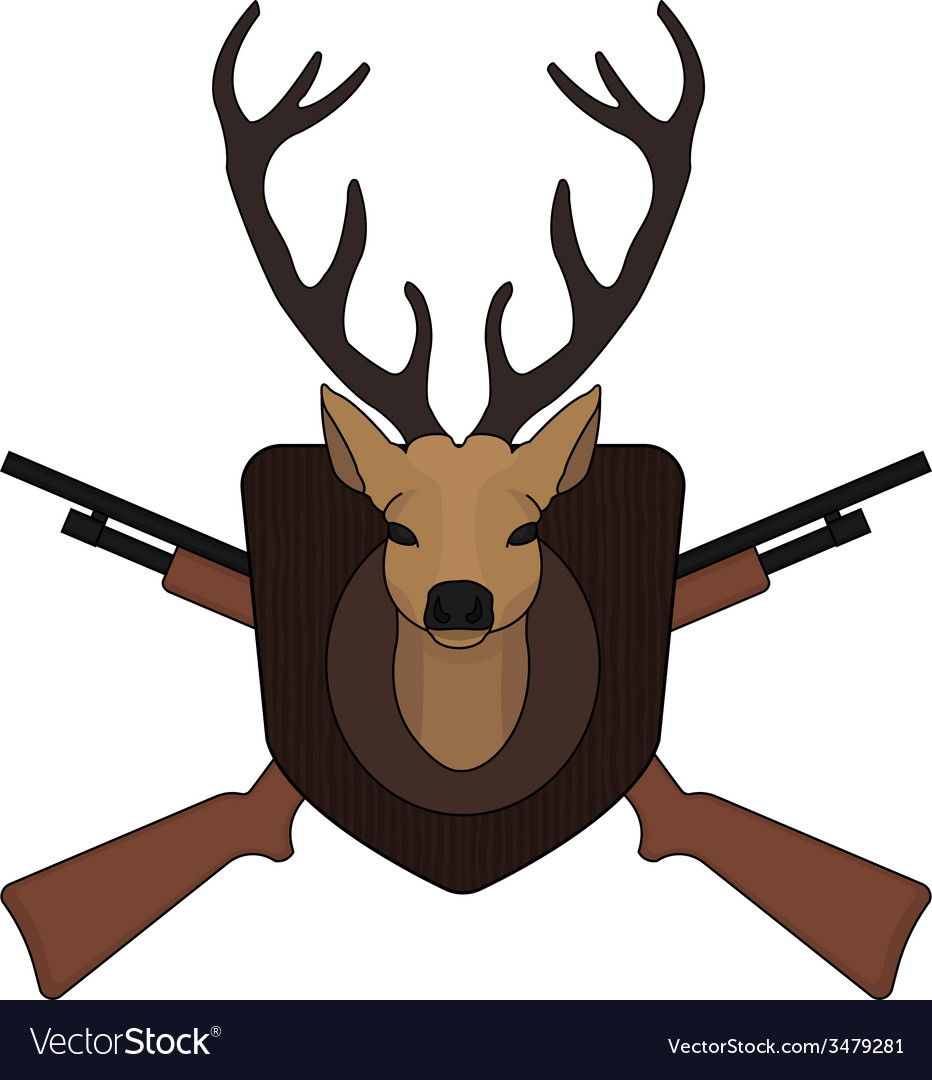 Hunting trophy taxidermy deer head vector
