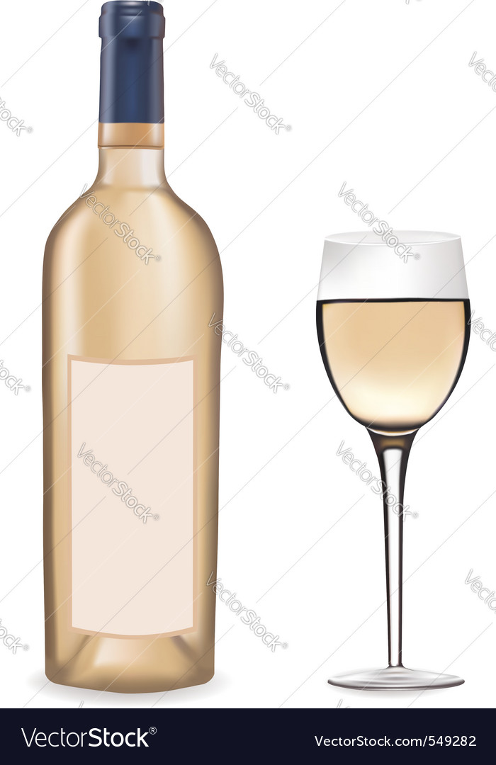 Bottle of white wine and a win vector
