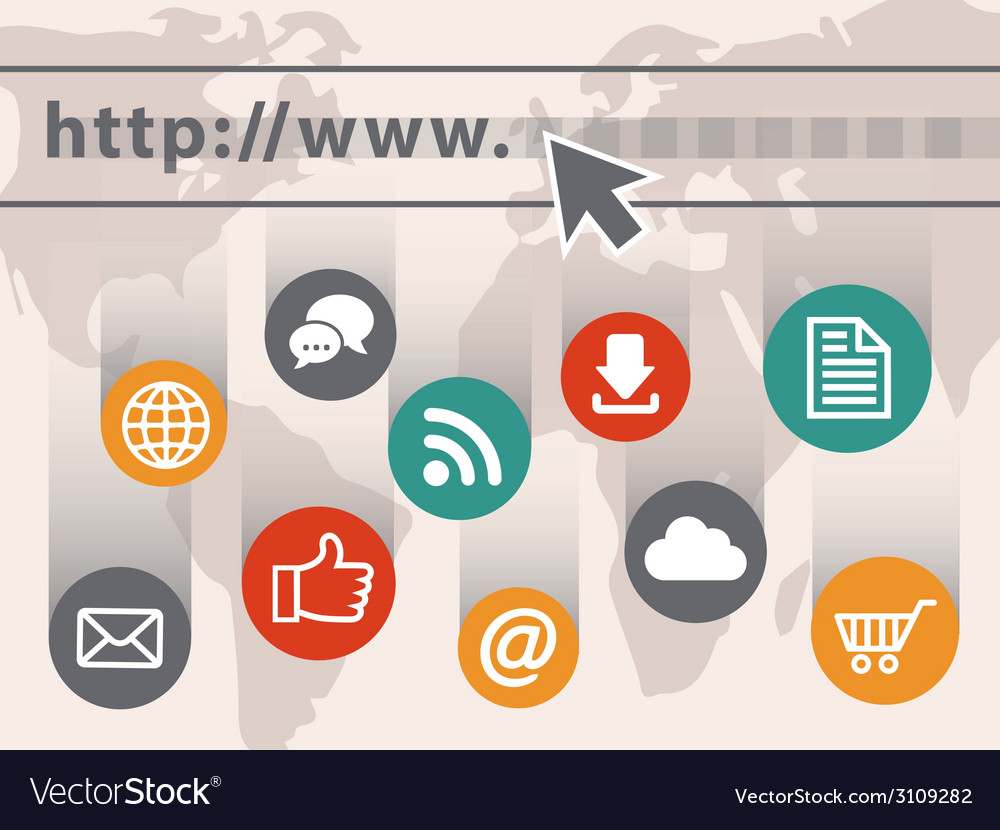 Internet with web icons vector