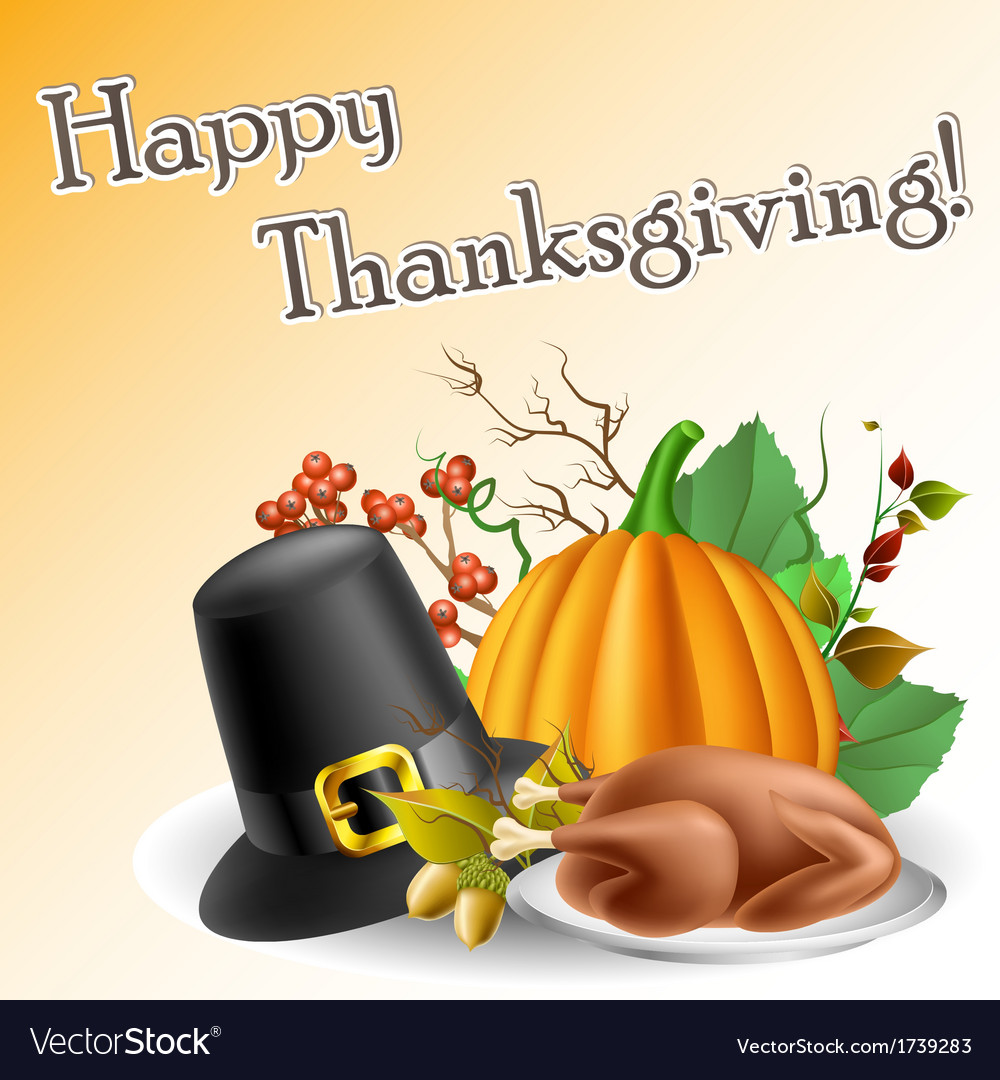 Thanksgiving text frame with pumpkin and turkey vector