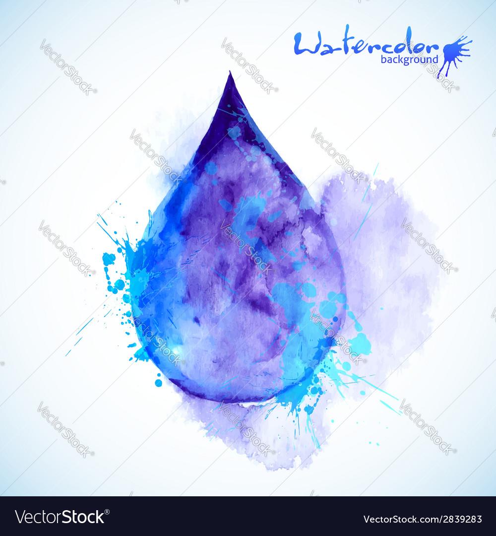 Watercolor painted blue drop vector