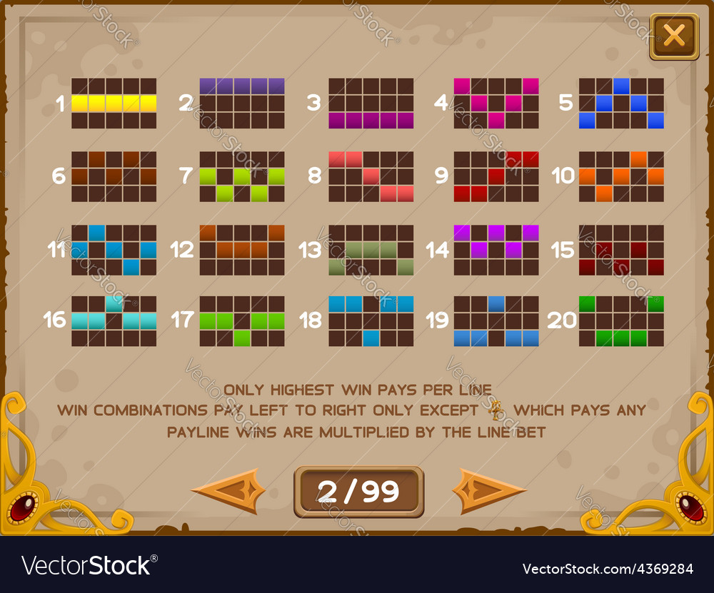 Info screen for slots game 2 vector