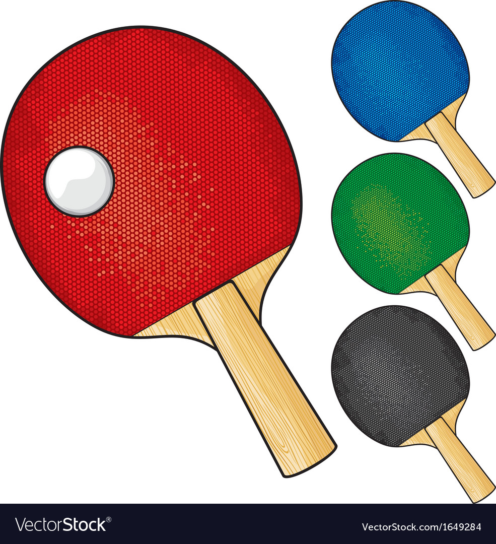 Table tennis rackets and ball vector