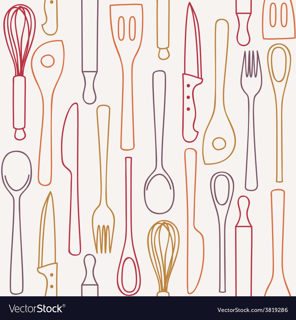 Kitchen utensils - seamless pattern vector