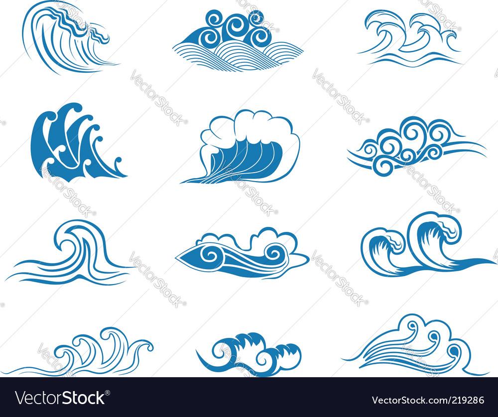 Set of wave symbols vector