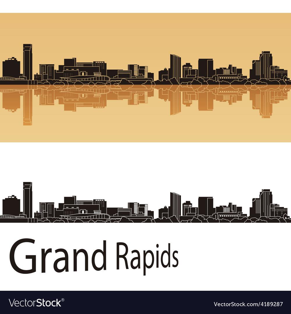 Grand rapids skyline in orange background vector