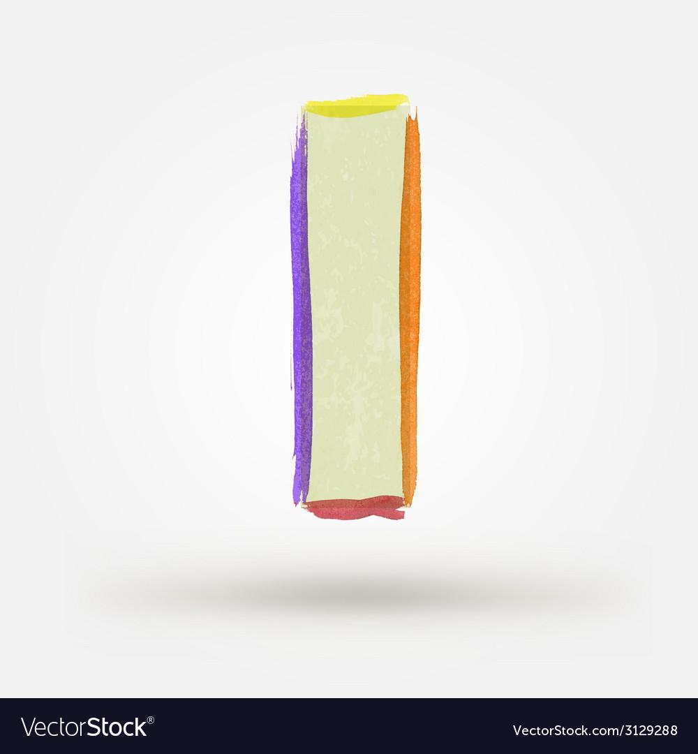 Alphabet letter i watercolor paint design element vector